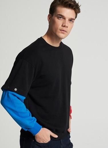 Pi π Kolu Çıt Çıt Detaylı Sweatshirt Siyah